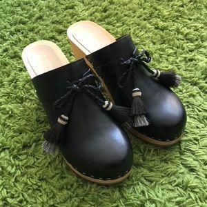 loeffler randall black leather tassel clog